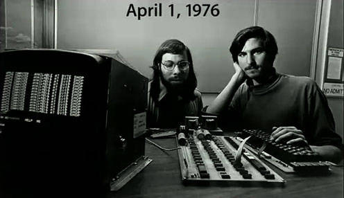 Wozniak and Jobs. April 1, 1976